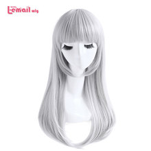 L email wig K Kushina Anna Cosplay Wigs Grey Sliver Long Straight Cosplay Wig Heat Resistant Synthetic Hair Halloween