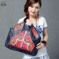 Últimos bolsos de Estilo chino Mujeres Bolso Bordado Étnico Verano primavera otoño Moda Flores Hechas A Mano de Las Señoras bolso de Mano totes