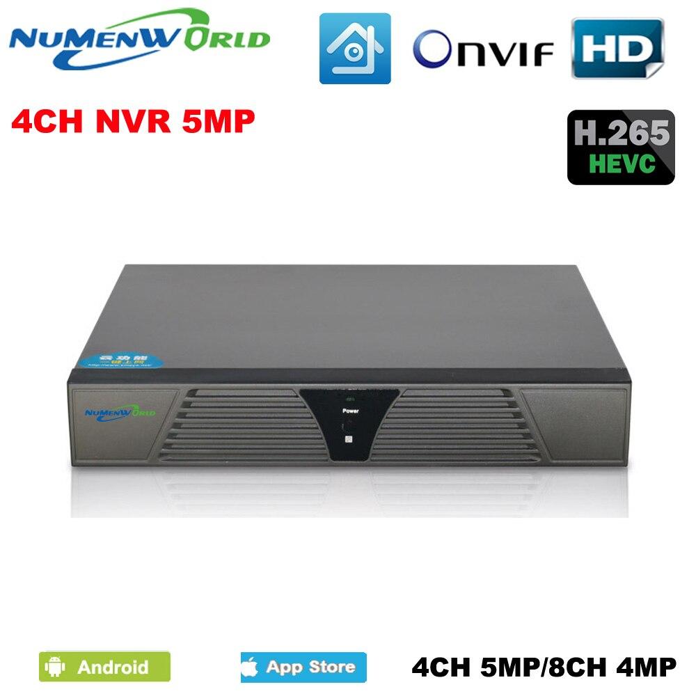 H.265/H.264 8CH 4MP 4CH 5MP CCTV NVR enregistreur vidéo réseau de sécurité prend en charge ONVIF HDMI Smartphone PC pour système de caméra IP
