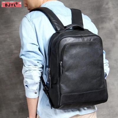 цены BJYL Men backpack simple wild men's genuine leather 15 inch laptop bag handmade original male business travel shoulder bags