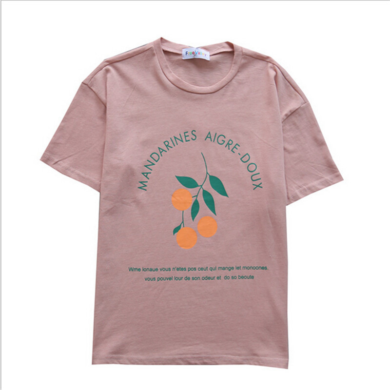 2018 Spring and Summer New Green Leaf Small Orange Childrens Round Neck Short Sleeve T-Shirt ...
