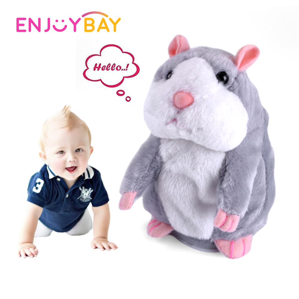 Enjoybay Talking Hamster Mouse Plush Toy Baby Electronic Pets Toys Sound Record Repeat Stuffed Plush Animal Cute Gifts for Kids