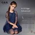2016 estilo de la moda primavera verano Marca de ropa de la muchacha de flor de malla Vestido de la muchacha de la princesa cabritos del vestido de Fiesta vestidos para niñas 4-19 edad