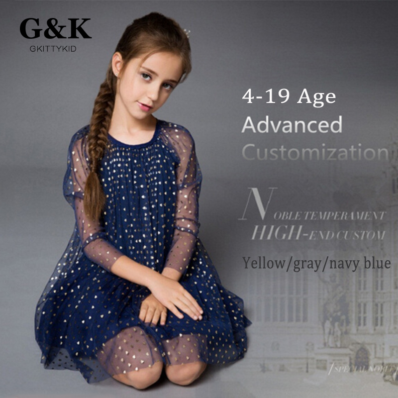 2016 fashion spring summer style Brand girl clothes mesh flower girl Dress princess Party dress kids dresses for girls 4-19 age