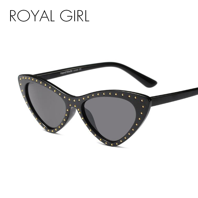 858dd7d9933 ROYAL GIRL Black Cat Eye Sunglasses Women 2018 Brand Designer Small  Triangle Rivet Sun Glasses for