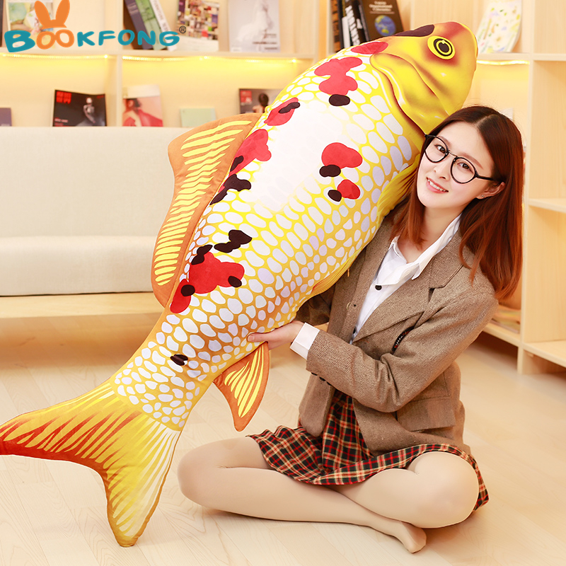 New 3D Grass Carp Pillow PP Stuffed Plush Simulation Animal Fish Toy Cushion Children Gift 60cm цена 2017