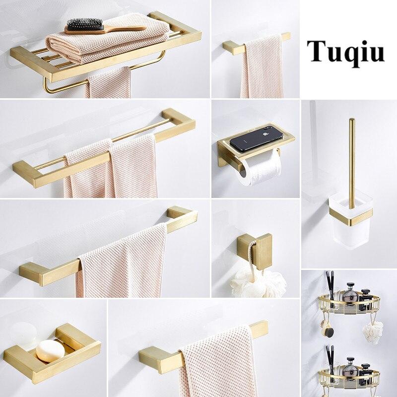Conjuntos de Acessórios do Banheiro de Toalha Rack de Canto Suporte de Papel Conjuntos de Hardware Prateleira Sólido Inoxidável Escovado Banheiro Ouro Aço 304