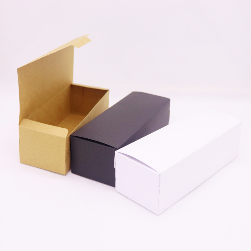2019 5pcs Box DIY 19.4x7x5cm Kraft/black /white Paper For Wedding Favors Birthday Party Cookies Christmas Candy Box