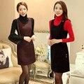 Inverno assentamento vestidos de inverno vestido de lã sem mangas espessamento inverno mulheres new vestido casual plus size vestidos de inverno MDM254