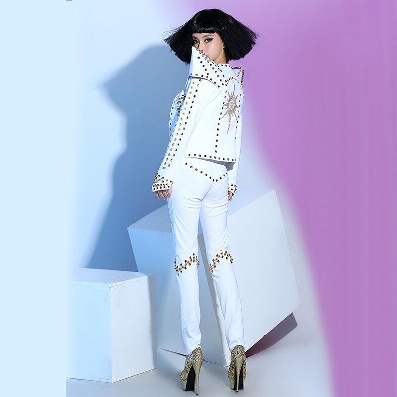 Trois Ds Rivet Pantalon pièce Sous Scène Discothèque Punk Dj Femmes De Sexy Nouveau Costume vêtements Chanteuse veste Bar Blanc Rvf8q10