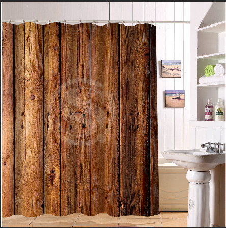 ⊹BBE Vintage Rustic Old Barn Wood Custom Shower Curtain 66 x72 ...