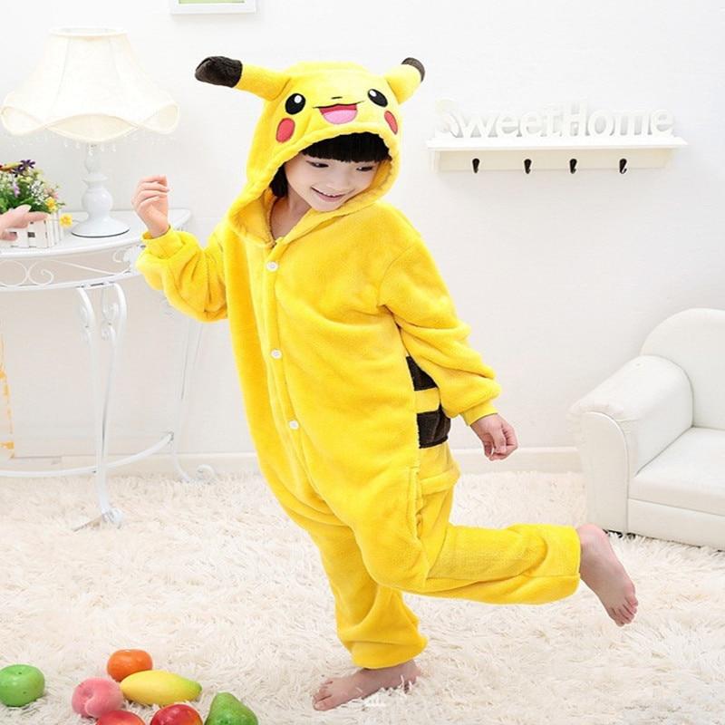 Hot Children Pokemon Pikachu Dinosaur Onesie Kids Girls Boys Warm Soft Cosplay Pajamas One Piece Sleepwear