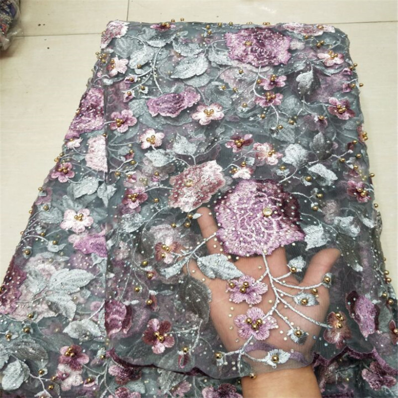 African Nigerian Lace Fabrics 2018 New Design Embroidered Nigerian Lace Fabric High Quality French Tulle Lace