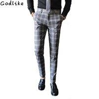 Men Dress Suit Pant Business Casual Slim Fit Classic Suit Trousers Wedding Male Korean version Plaid casual pants Slim trousers