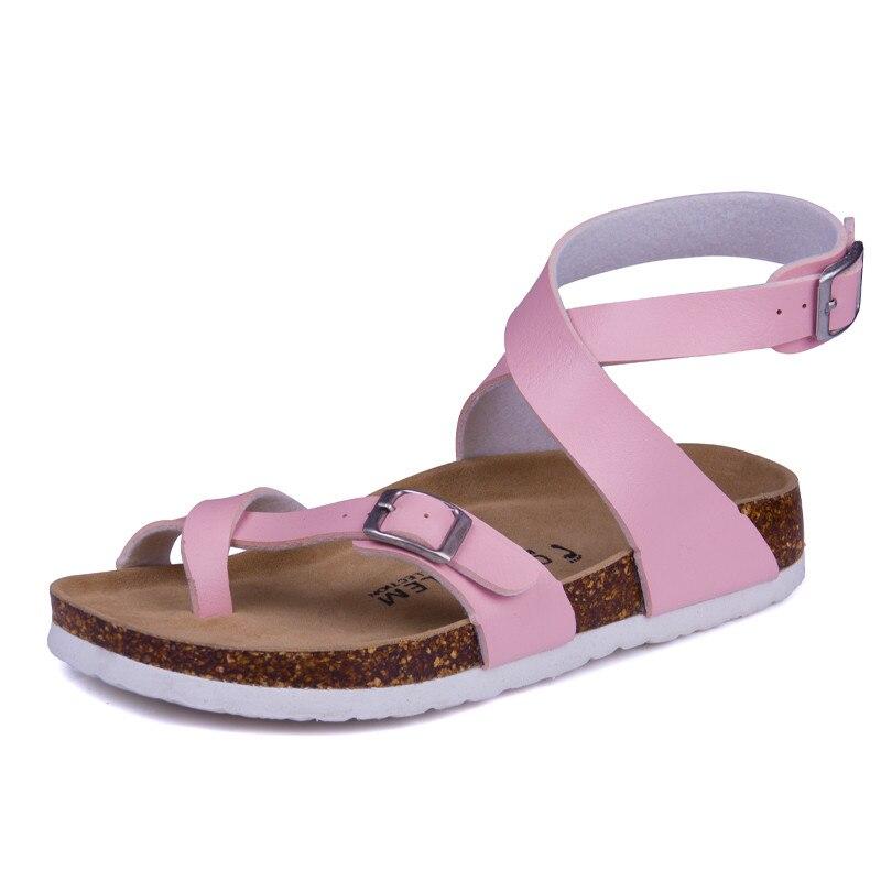 Fashion Designer Cork Sandals 2017 New Young Girl Casual Summer Beach Women Gladiator Buckle Strap Shoe 35-43 White Pink