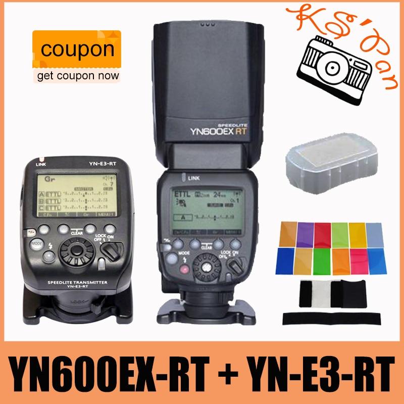 YONGNUO YN600EX-RT GN60 Беспроводной HSS Мастер Вспышка Speedlite + YN-E3-RT Контроллер для Canon + 12 шт. Цветные Фильтры + Диффузор