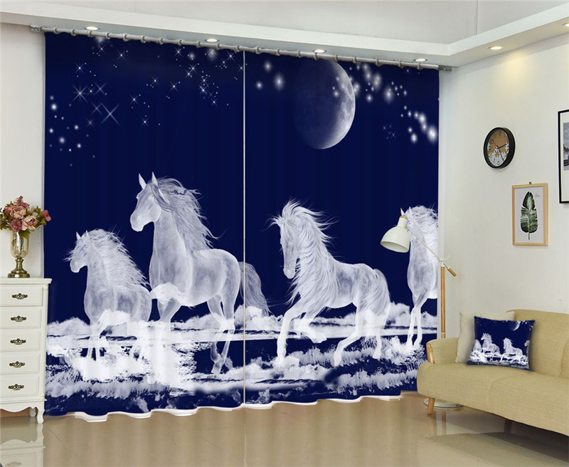 Us 11 0 45 Off White Flying Horse Luxury Blackout Window Curtains Living Room Bedroom D Cortinas Rideaux Customized Size Pillowcase In