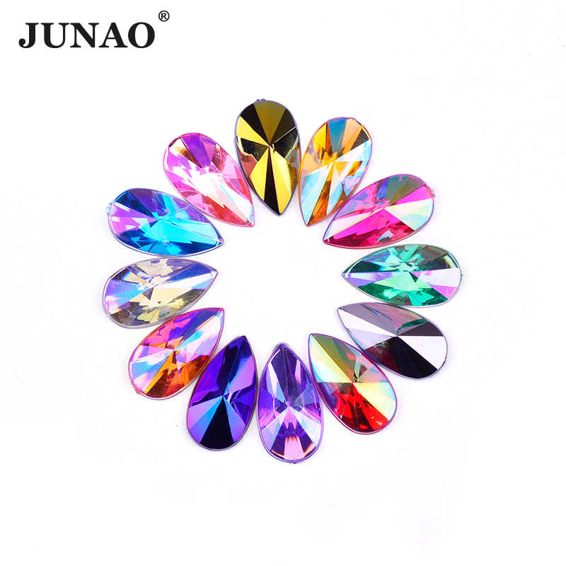 JUNAO 8*13mm 9*18mm Mix Color AB Crystal Rhinestone Teardrop Acrylic Stones Flat Back Crystal Applique Non Sewing Strass Crafts