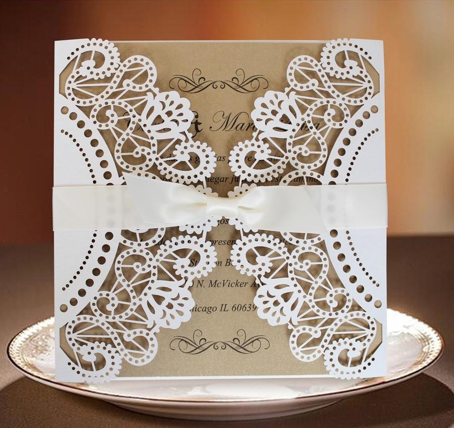 Bridal Shower Einladung; Weiße Spitze-Hochzeits-Einladung mit - Partyartikel und Dekoration