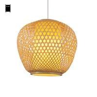 Okrągłe bambus wiklina Rattan wiadro cieniowany wisiorek oprawa światła rustykalne Aisan japoński proste kraju chiński wiszące lampy Luminaria w Wiszące lampki od Lampy i oświetlenie na