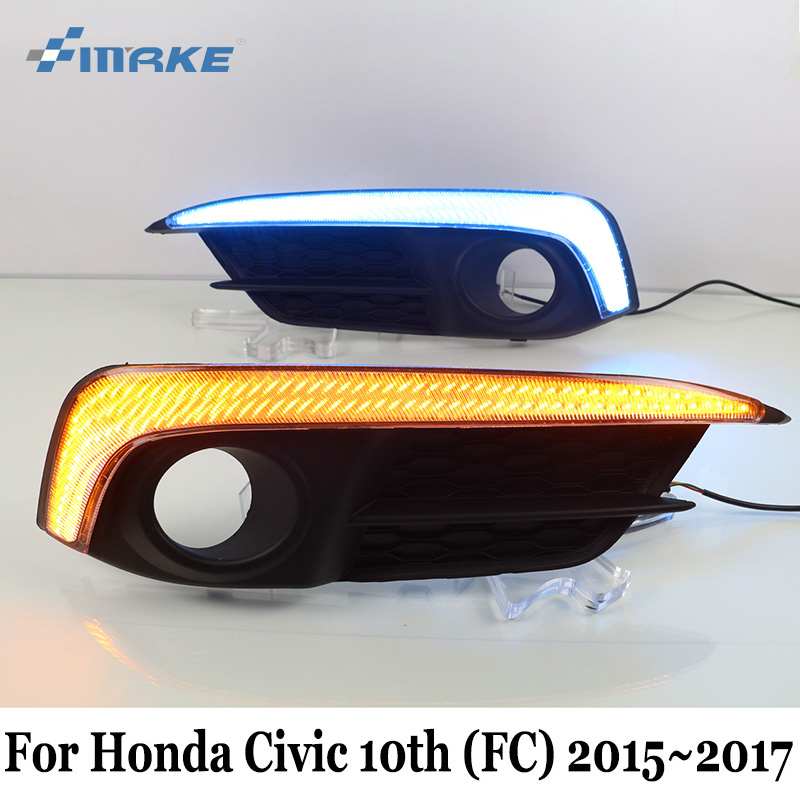 SMRKE DRL For Honda Civic 10th (FC) 2015~2017 / Car Daytime Running Lights With Yellow Signal Light / Car Styling Fog Lamp Frame