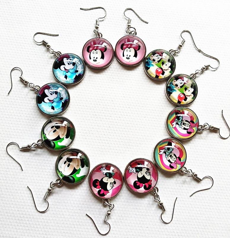 24pairs/lot Cartoon Earrings Pink Rose Blue Lovely mouse Minnie Drop Earrings for Kids Girls earbob ear pendants Jewelry