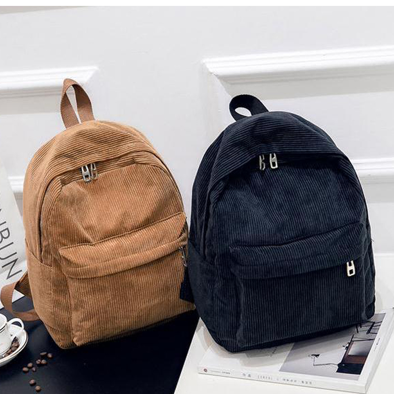 fashion Department of corduroy backpacks women's casual canvas large capacity college wind student school bags women backpack