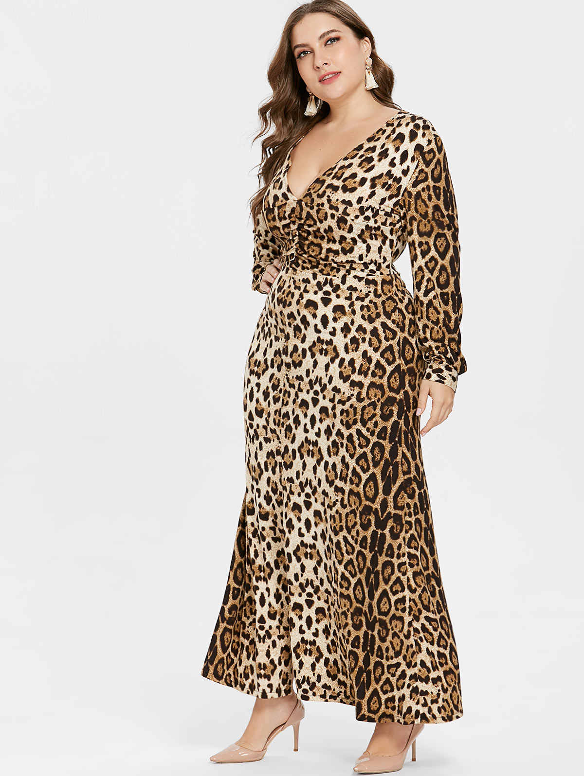 e4a03428383 Kenancy Plus Size Women Dress Leopard Print V-Neck Long Sleeve Front Split  Maxi Dress Autumn Female Dresses Feminino Vestidos
