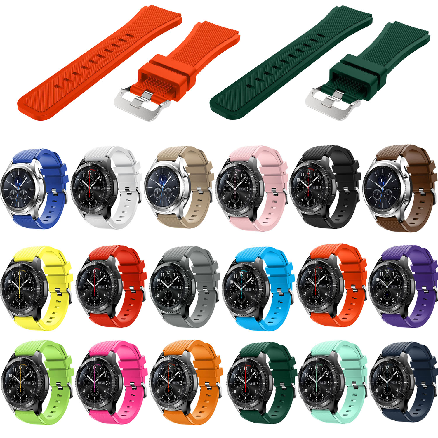 Hot Sale 22mm Sports Silicone Strap for Samsung Gear S3 Frontier Band for Gear S3 Classic Rubber Watchband Replacement Wristband crested sport silicone strap for samsung gear s3 classic frontier replacement rubber band watch strap for samsung gear s3