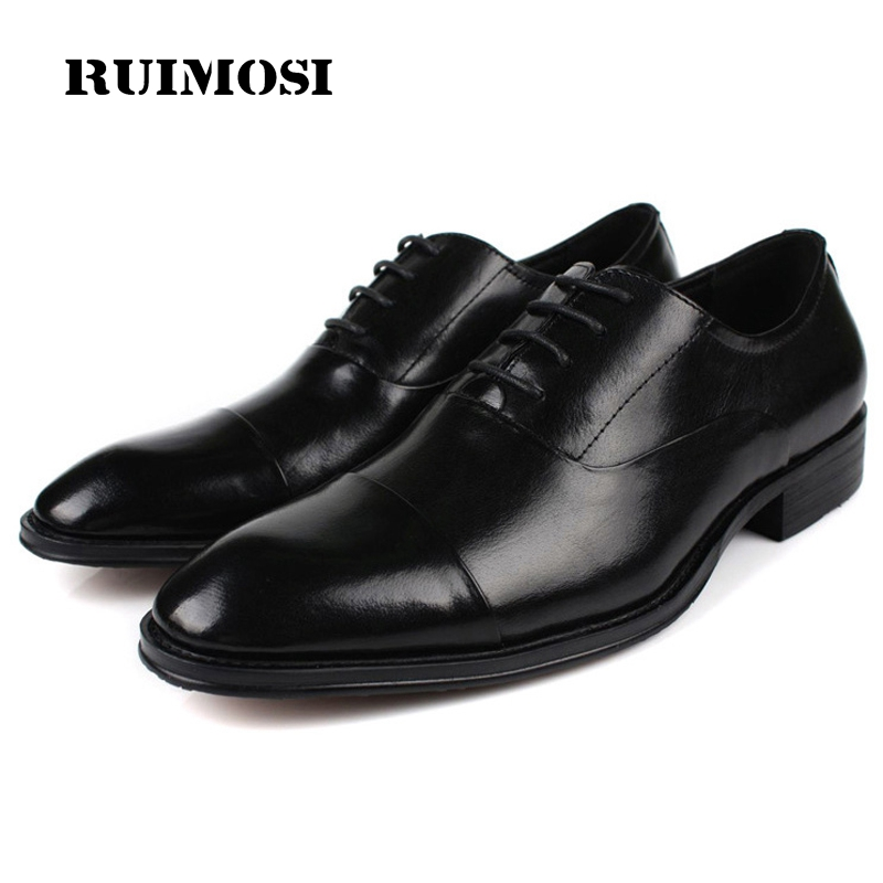 RUIMOSI 2017 New Italian Designer Man Dress Shoes Genuine Leather Cow Oxfords Cap Top Men's Wedding Party Flats For Bridal AS63 fashion top brand italian designer mens wedding shoes men polish patent leather luxury dress shoes man flats for business 2016