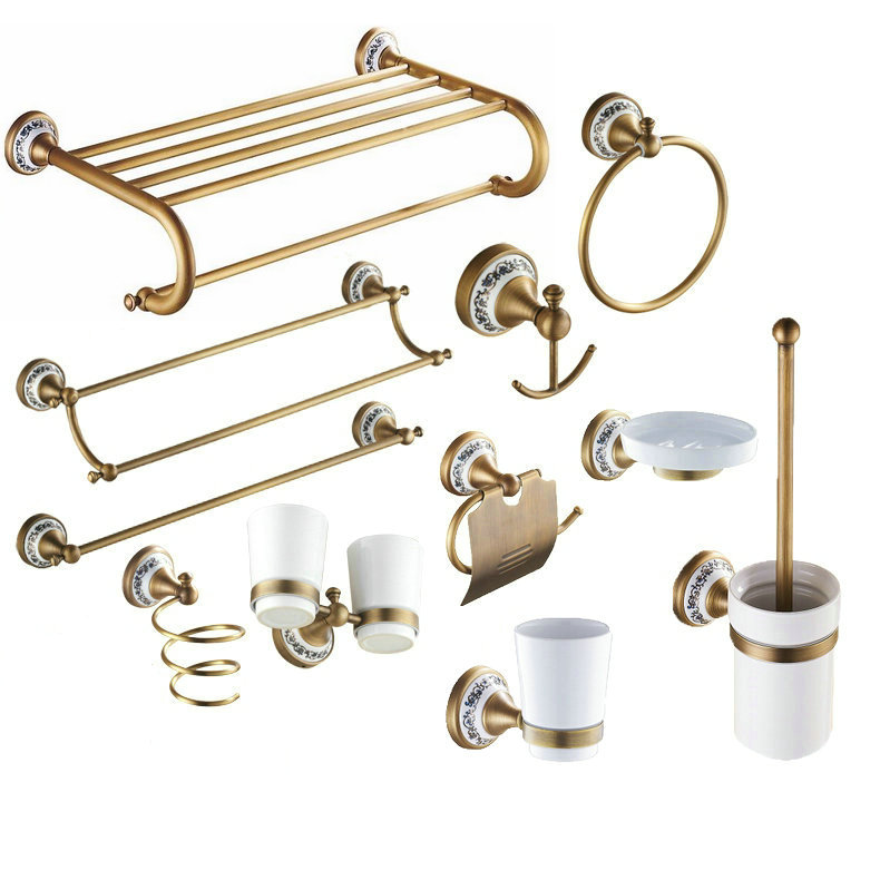 Buy antique solid brass bronze bath for Bathroom hardware sets