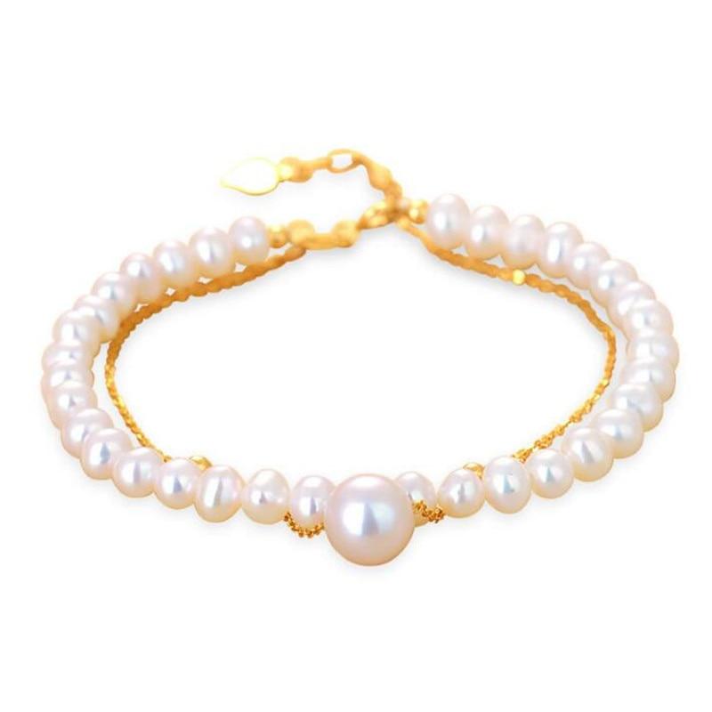 100% 5.5-6-7mm Bracelets de perles d'eau douce naturelles 18 K chaîne en or couleur blanche véritable perle cadeau pour fille amie