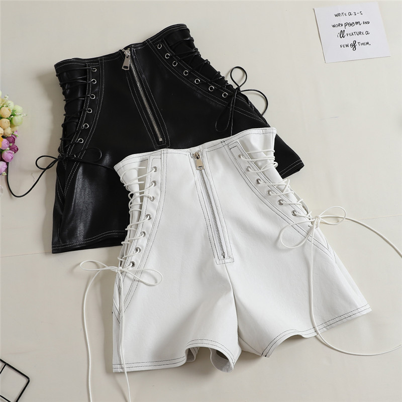 2018 Autumn Women PU Shorts Tie High Waist Shorts Female Casual Black Shorts Ladies All Match Wide Leg Shorts Short Pants AB1170