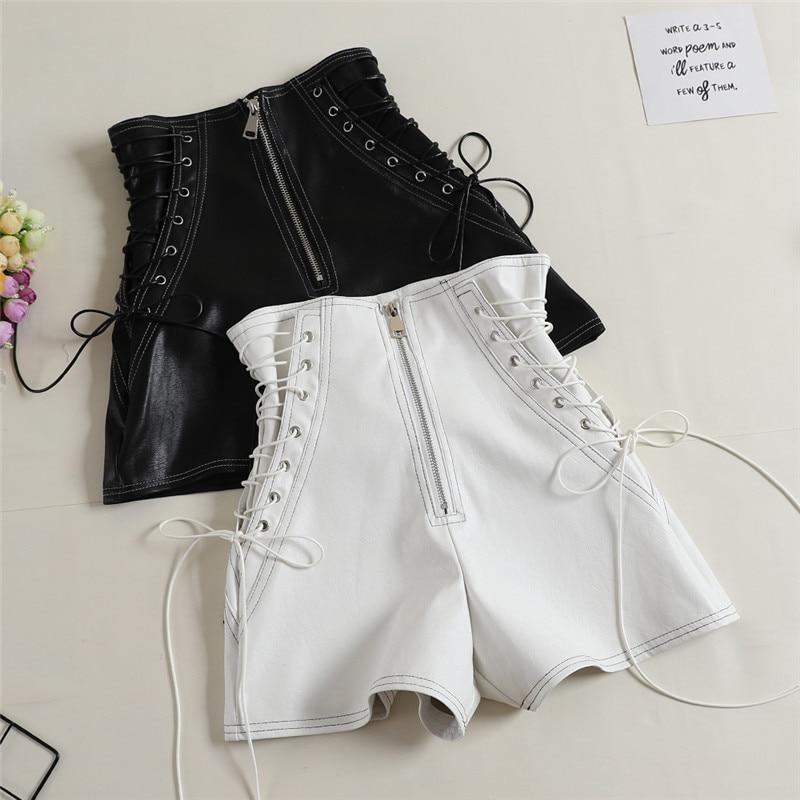 2018 Autumn Women PU Shorts Tie High Waist Shorts Female Casual Black Shorts Ladies All Match Wide Leg Shorts Short Pants AB1170