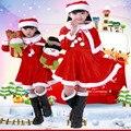 Рождественские Мальчиков И Девочек Одежда Устанавливает Рождество Clother Золото Бархат Платье Рождество Производительность Одежды Костюмы