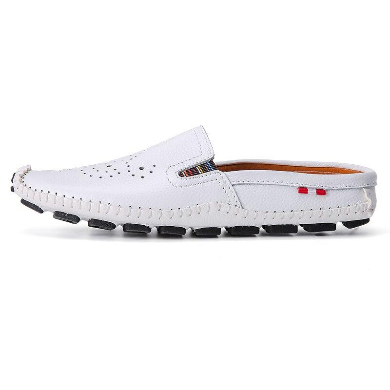 Genuíno Zdrd Respirável Chegada Sapatos Sandálias Slides Moda Masculinos Nova Mocassins laranja Confortável Verão Couro Apartamentos Homens branco Legal De Preto r0qXxrw5O