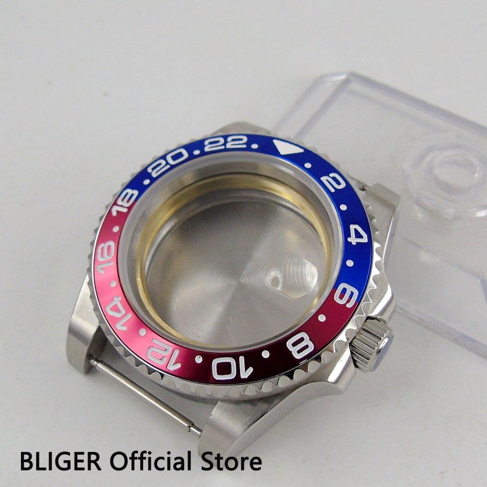 43mm BLIGER haute qualité rouge bleu lunette tournante saphir verre date de loupe pour eta 2824 2836 mouvement hommes boîtier de la montre