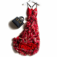 Silk Dress Women Elegant Beach Long Red Party dresses Women Printed High Quality Clothing Free Shipping HOT Selling