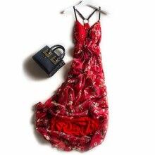 Vestido de seda feminino, elegante, praia, vermelho, vestidos de festa femininos, estampado de alta qualidade, frete grátis, venda quente