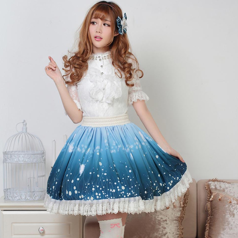 Princess Elf Empire Style Print Lace Mori Blue Cute Autumn Japanese Lolita Skirt Winter Sweet Girl YxqRa6v8nw