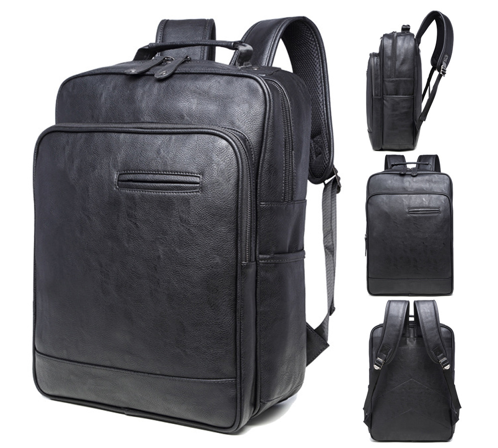 14 15 15.6 Inch Black PU Computer Laptop Notebook Backpack Bags Case School Backpack for Men Women Student Travel