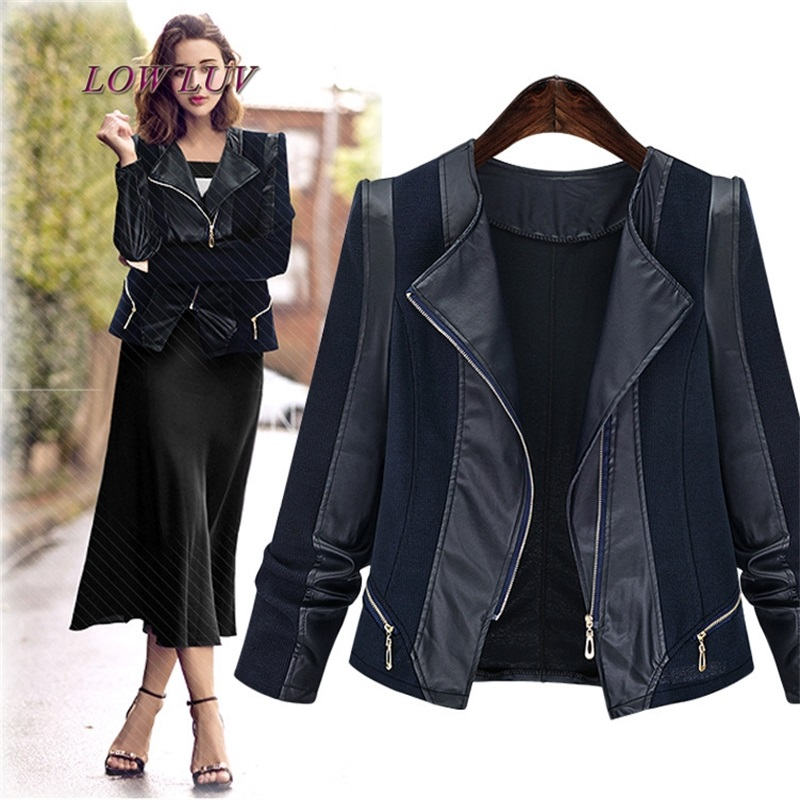 Women Large Size PU   Leather   Jackets 2017 New Arrival Women's Autumn Winter Casual Coats Female Plus Size Patchwork Jacket