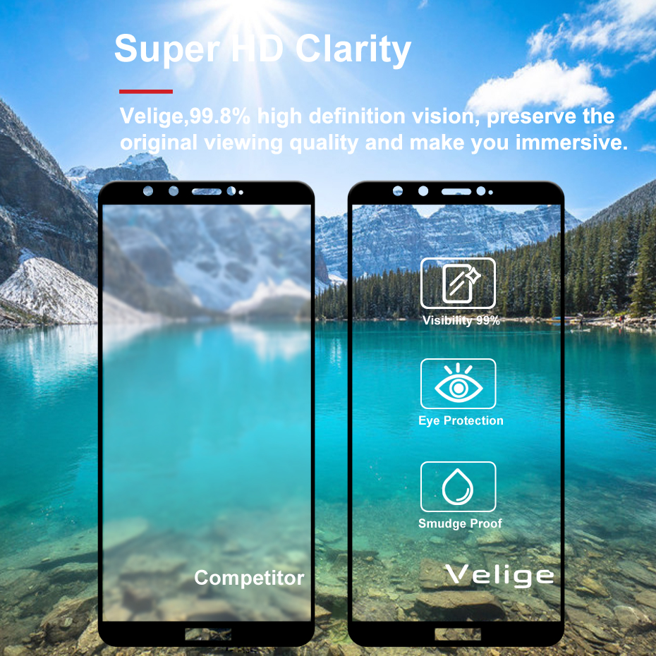 Velige 2.5D Full Cover Tempered Glass for Huawei Honor 9 Lite Honor9 Lite Screen Protector Ultra Thin Safety Glass Film (6)