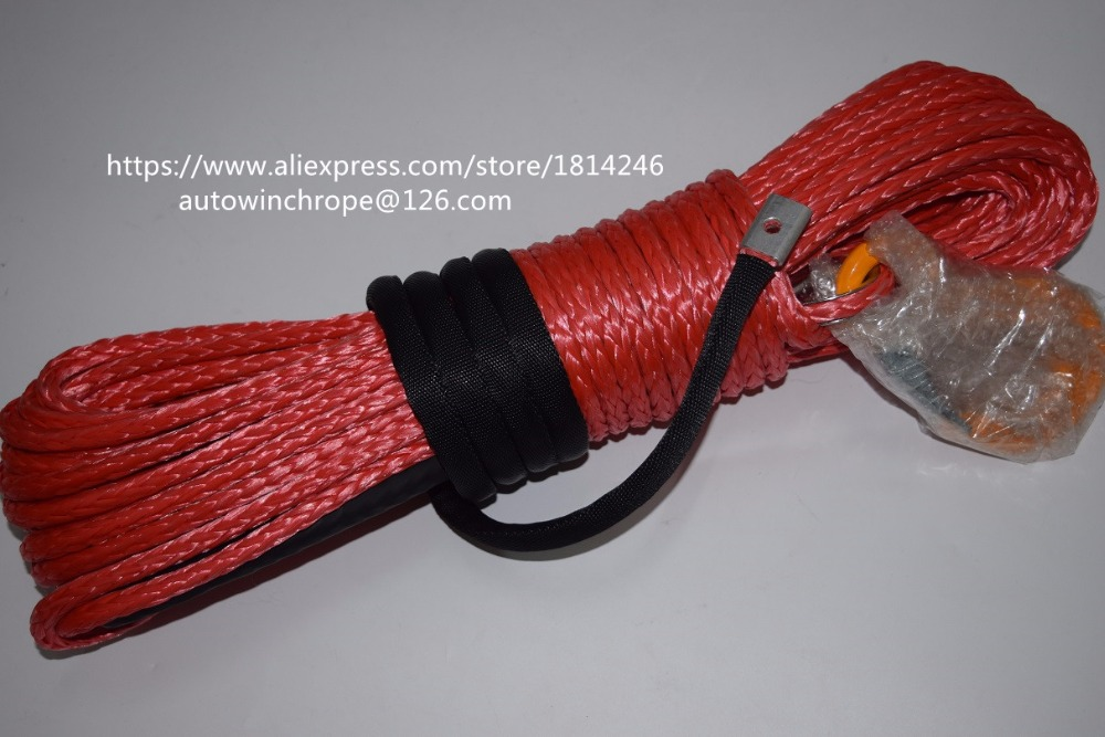 Free Shipping 5/16*100ft Red Synthetic Rope,Boat WInch Rope,ATV Winch Cable,Off Road Rope,Synthetic Rope Winch blue 6mm 30m atv winch line with 4500lbs aluminium hawse fairlead synthetic winch rope cable atv winch cable towing rope