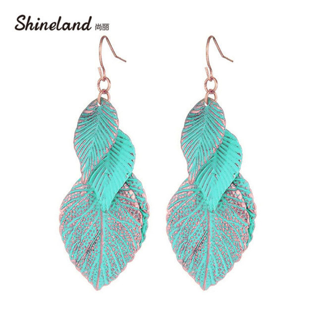 Shineland 2018 Newest Design Rose Gold Color Blue Leaf Earrings For Woman  Bohemian Multi Layer Long Earings Fashion Jewelry Gift 3fe06284b9a2