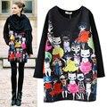 2017 Mulheres Blusa Casual Shirts Hoodies Primavera Outono Pullovers Moda Miss Kitty Longos Das Senhoras Da Luva Cats Imprimir Plus Size M-4XL