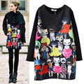2017 Women Casual Blouse Shirts Hoodies Spring Autumn Fashion Pullovers Miss Kitty Long Sleeve Ladies Cats Print Plus Size M-4XL