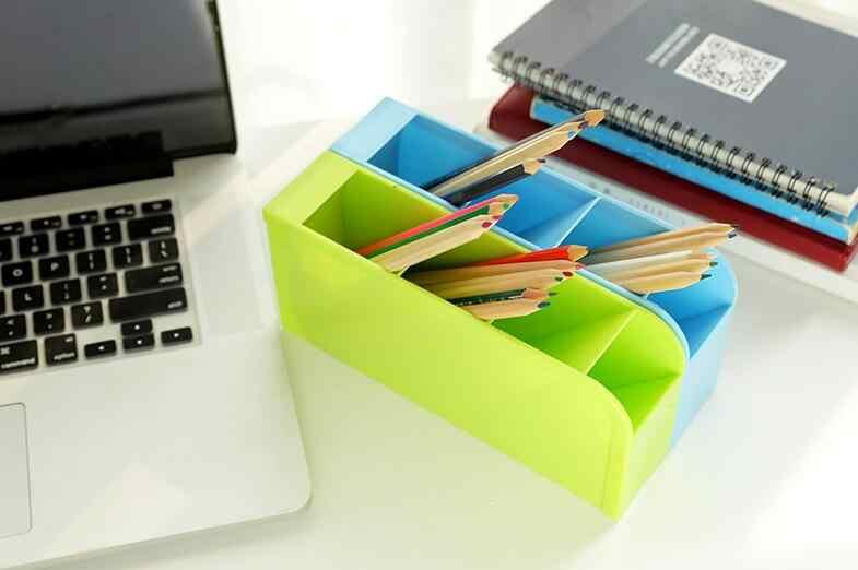 Креативный Многофункциональный пластиковый ПП Настольный ящик для хранения чехол 4 сетки подсетка макияж косметический держатель настольный карандаш ручка Органайзер
