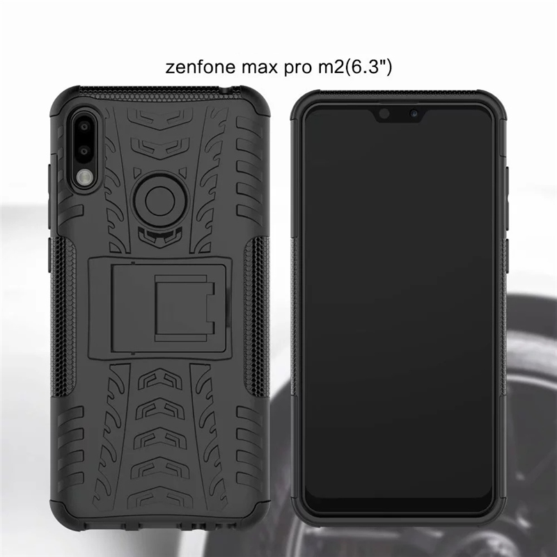 Shockproof Hard Armor Stand Phone Case For Asus Zenfone Max M2 ZB633KL Slim Bumper Soft Silicon Back Cover On Zenfone ZB633 633K in Phone Bumpers from Cellphones Telecommunications