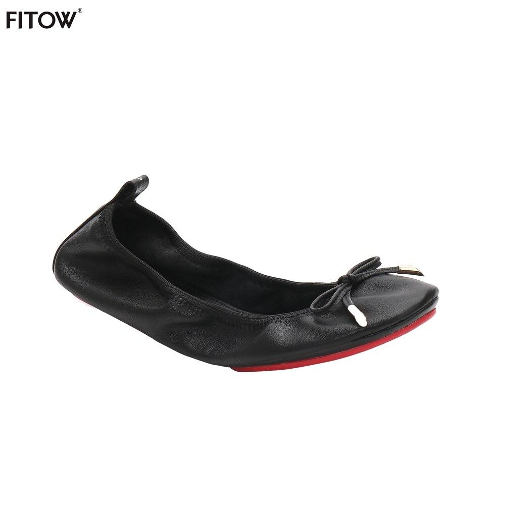 5 Pairs/lot 2 Color Size36 42 Ballerina Shoes Women Leather Butterfly knot Ballet Flats Foldable Portable Plus Size Flats Shoes